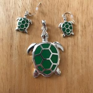 Jewelry - Turtle Pendant Earrings Set Beach Islands Cruise